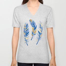 Watercolour Feathers - Navy and Gold Unisex V-Neck