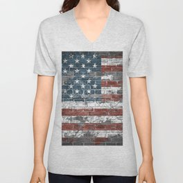 american flag on the brick Unisex V-Neck