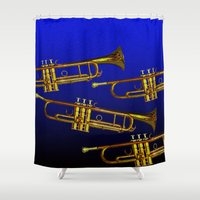 trumpet Shower Curtains featuring Blue trumpet by Becky Betancourt