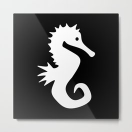 Seahorse (White & Black) Metal Print