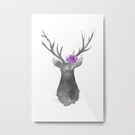 Grey Deer with flowers on the head Metal Print