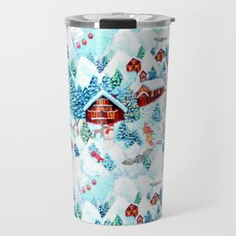 Alpine Chalets with reindeer, owls and snow (watercolor) Travel Mug