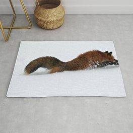 Fox Running in the Snow Rug