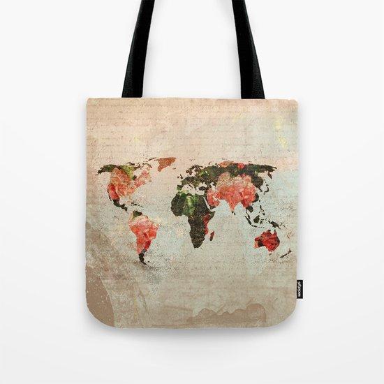Vintage World Map Tote Bag
