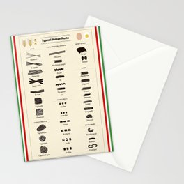Types of Italian Pasta Stationery Cards