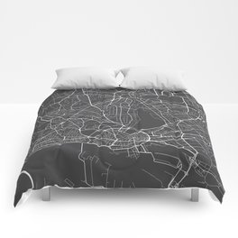 Hamburg Map, Germany - Gray Comforters