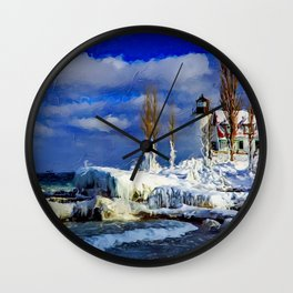 Coastal New England Winter Lighthouse Landscape Scene Wall Clock