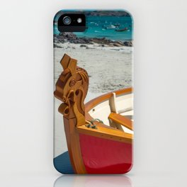 Red Wooden Boat With Celtic Horse Design on the Prow, Isle of Iona, Scotland iPhone Case