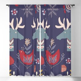 REINDEER AND FLOWERS Blackout Curtain