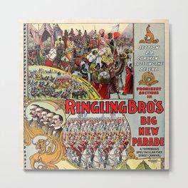 1899 Ringling Brothers Big New Parade Vintage Circus Poster Metal Print