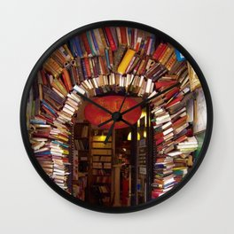 Books Store Front Doorway of Books and Novels Wall Clock