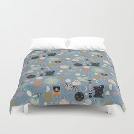 Lunar Pattern: Blue Moon Duvet Cover