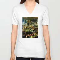 gravity V-neck T-shirts featuring Gravity by Danielle Tanimura