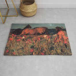 Wild Horses, Red Poppy, & Shepard Night landscape painting  by Mikhail Vrubel Rug