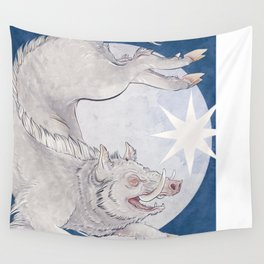 White boar Wall Tapestry