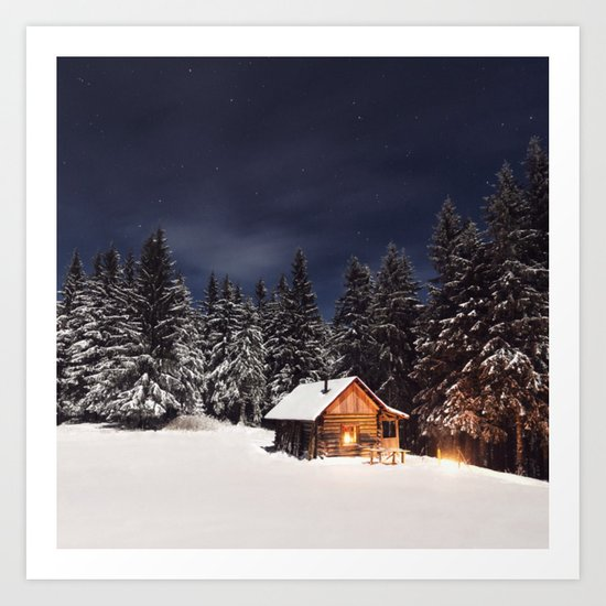A Winter Scene (Forest, Cabin, Woods) Art Print