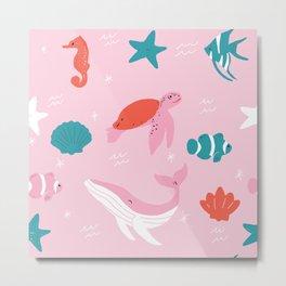 Ocean Animals Print Metal Print