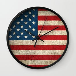 Old and Worn Distressed Vintage Flag of The United States Wall Clock