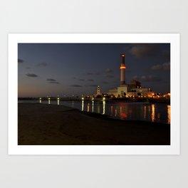 Nightfall at the harbor Art Print