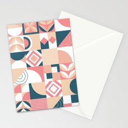 Lovely Geometric Shapes Abstract art in pastel and blue pattern Stationery Cards