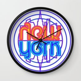 """Neon New York"" Lakeview Mirror Image Wall Clock"