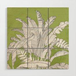 Banana Leaves Illustration - Green Wood Wall Art