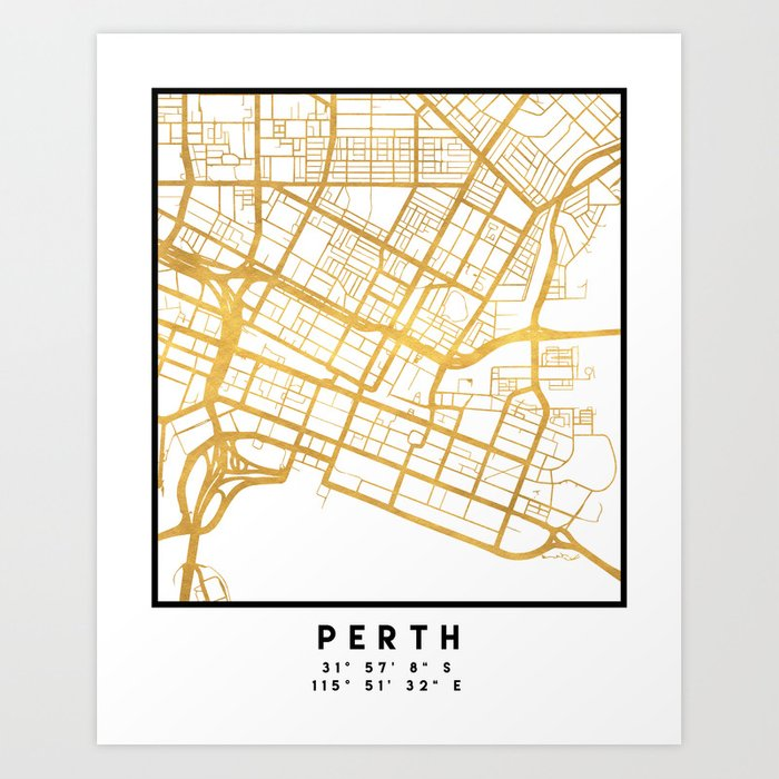Perth In Australia Map.Perth Australia City Street Map Art Art Print By Deificusart