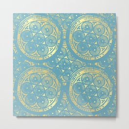 flower power: variations in aqua & gold Metal Print