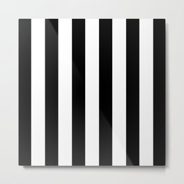 Simply Vertical Stripes in Midnight Black Metal Print