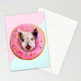 Pig Strawberry Donut Stationery Cards