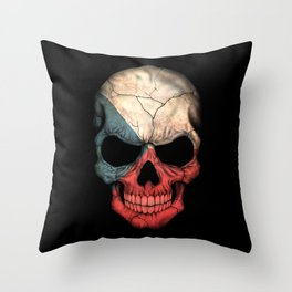 Dark Skull with Flag of Czech Republic Throw Pillow