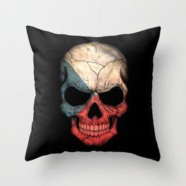 Dark Skull with Flag of Czech Republic Throw Pillow