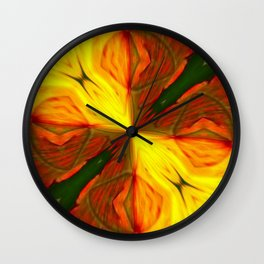 Bold Red, Green and Gold Abstract Kaleidescope Wall Clock