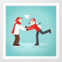 Skaters in Love Art Print