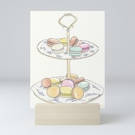 French Macarons Take a Stand, French Paris Pastry illustration Mini Art Print