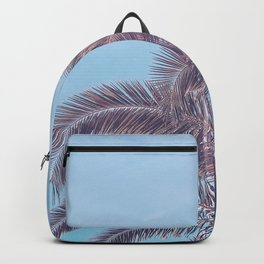 Summer Palm Leaf Print {2 of 3} | California Blue Color Sun Sky Beach Vibe Tropical Plant Nature Art Backpack