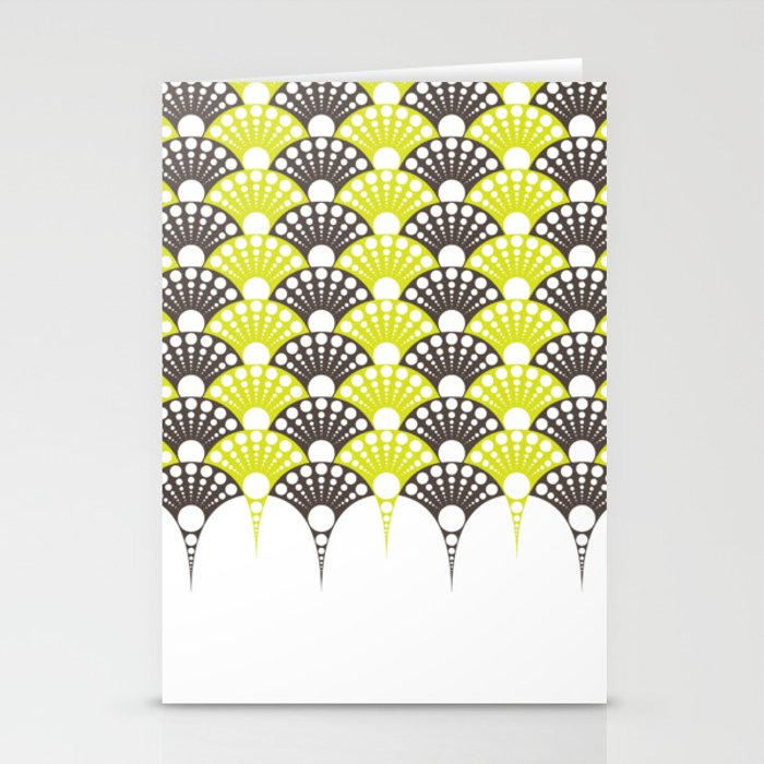 brown and lime art deco inspired fan pattern Stationery Cards by vrijformaat