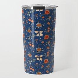 Flowery blue orange Pattern Travel Mug
