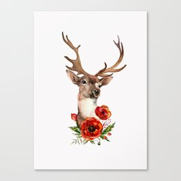 Deer with flowers 2 Canvas Print
