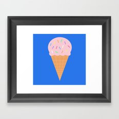Sweet Ice cream cone with blue background Framed Art Print