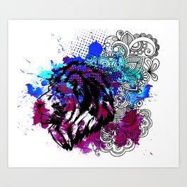 Purple Lion Spirit Art Print