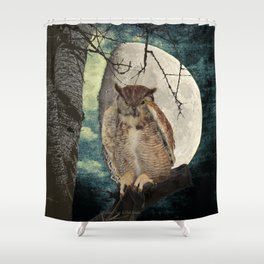Great Horned Owl Bird Moon Tree A138 Shower Curtain