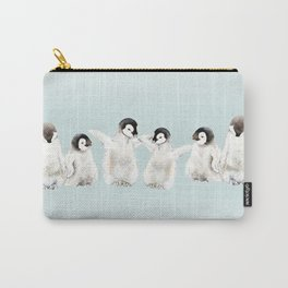 Playful Penguin Chicks - Watercolor Painting Carry-All Pouch