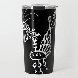 Dead Bird - White on Black Travel Mug
