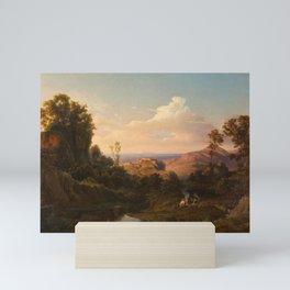 Edmund von Worndle , Two hunters resting on a shady mountain stream Mini Art Print