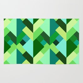 Modern Abstract Triangles, Emerald Green and Aqua Rug