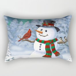 Cute Happy Christmas Snowman with Birds Rectangular Pillow