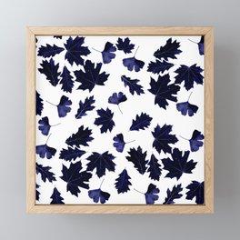 Indigo Blue Sun-Dyed Leaves Framed Mini Art Print