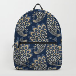 Blue and Gold Art Deco Peakock Backpack
