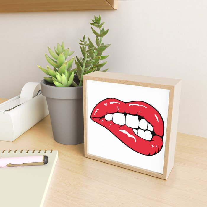 Red Lips Pop art Framed Mini Art Print